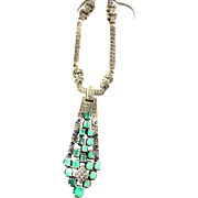 Breathtaking Chrysophase Vintage 1940s Marcasite Necklace must c