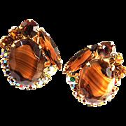Vintage Juliana Art Glass clip Earrings
