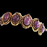 Vintage Huge Amethyst Art Glass Bracelet Victorian Revival