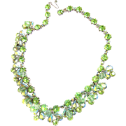Vintage Weiss Drippy Peridot Crystal Chunky Rhinestone Necklace
