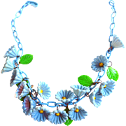 Early 1930s Celluloid Blue Belle Celluloid Collar Necklace