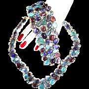 Extrordinary Glass Huge Cabochon Necklace Collar bracelet Earrings Vintage Parure
