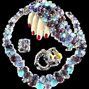Breathtaking Glass Cabochon Necklace Bracelet Earrings Ring Vintage