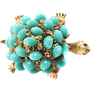 Har Vintage Faux Turquoise Brooch Pin