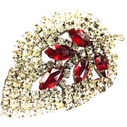 Gigantic Designer Leaf Shaped Ruby Red Rhinestone Brooch