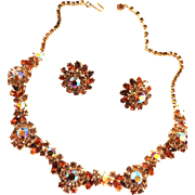 Crown Trifari Topaz Rhinestone Necklace and Earrings