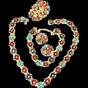 Magnificent Vintage Ciner Necklace Bracelet Earrings Brooch