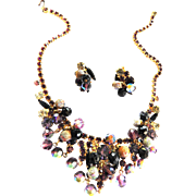 Vintage Juliana Dangling Rhinestone Necklace and Earrings Set