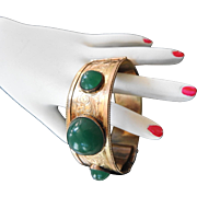 Late 1800s Rolled Gold Chrysophase Cabochon Bracelet