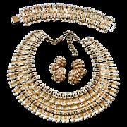 Massive BSK Cleopatra Collar Bracelet and Earrings Vintage 50s