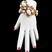 Fabulous White Milk Glass Assorted Stones Vintage 50 Bracelet