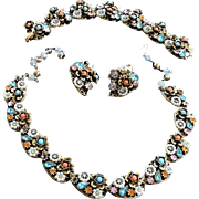 Faux Pearl and Rhinestone 1950s Necklace Bracelet Earrings