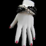 Black Jet Crystal Bead and Rhinestone Ball Vintage Bracelet