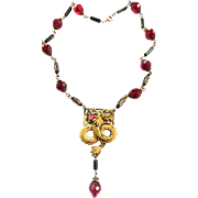 Spectacular 1940s Griffin Faceted Crystal Bead Necklace