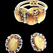 Vintage Juliana Cream Art Glass Clamper and  Earrings