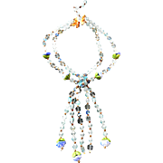 Vintage Exquisite Poured Glass and Art Glass Festoon Necklace