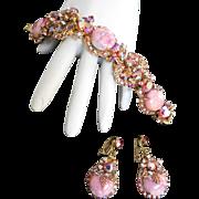 Vintage Juliana Pink Marble Art Glass Parure