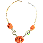 early 1900s Carved Celluloid Salmon Colored Flower Necklace