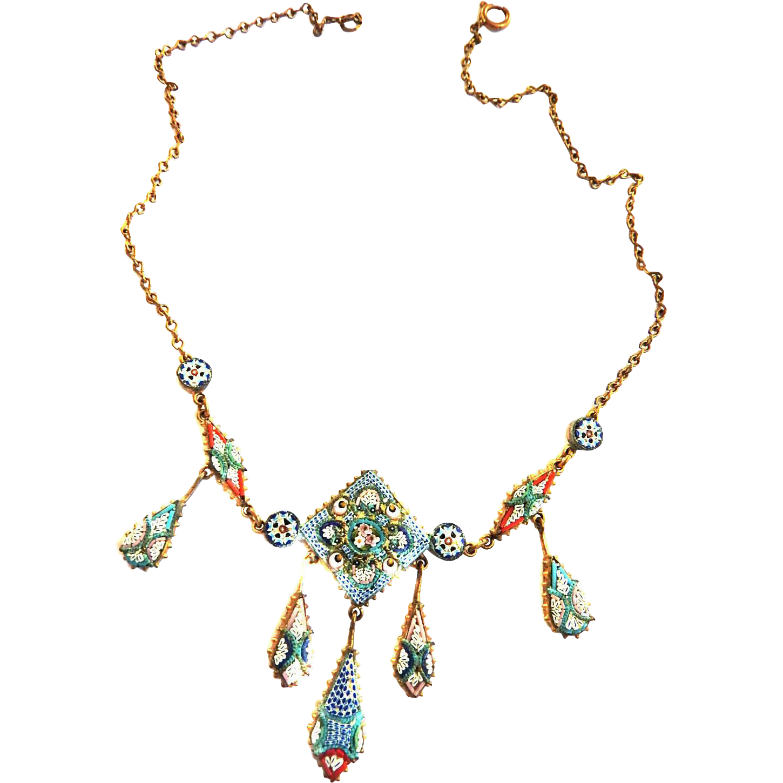 Vintage micro Mosaic Necklace 5 Panels Pendant