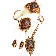 Vintage Juliana Grand Parure Topaz Cameo