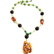 1960s Chinese Jadeite Bead Monkey Necklace