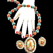 Fabulous Designer Easter Egg Necklace and Earrings 50s