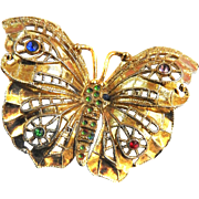 Vintage Butterfly Filigree Brooch