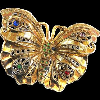 Vintage Butterfly Filigree Brooch