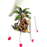 1940s Mexican Amigo Under Palm Tree Brooch Celluloid