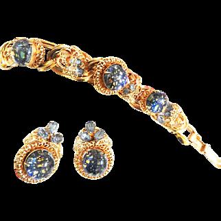 Faux Mexican Opal Designer Clamper Bracelet Vintage 50s
