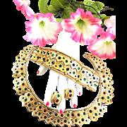 Fabulous Boucher Egyptian revival Necklace Bracelet Earrings Vintage