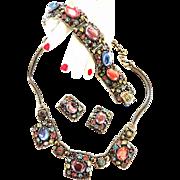 High End Designer Pastel Cabochon Vintage Necklace Bracelet Earrings Parure