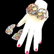 Vintage Pastel Clamper Bracelet and Earrings