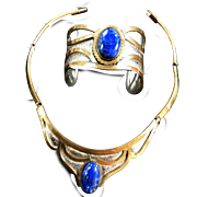 Fabulous Egyptian Revival Lapis Copper  Collar and Bracelet Vintage