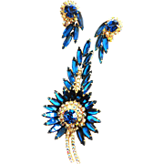 Juliana Huge Narrow Navette Capri Blue Brooch and Earrings