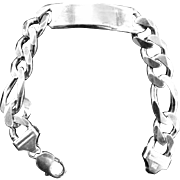 Heavy Sterling Silver Mens Id Curb Chain Vintage Bracelet