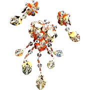 Exquisite Vendome Crystal Drippy Brooch and Earrings