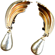 Faux South Seas Pearl Drippy Vintage Earrings