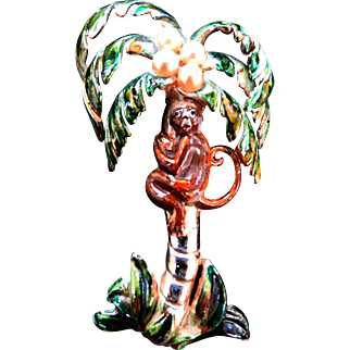 1940s Coro Monkey in a Palm Tree Brooch