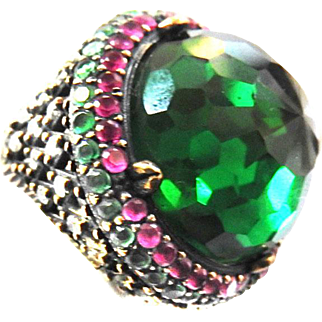 Exquisite Cocktail Glass Stone Vintage Ring