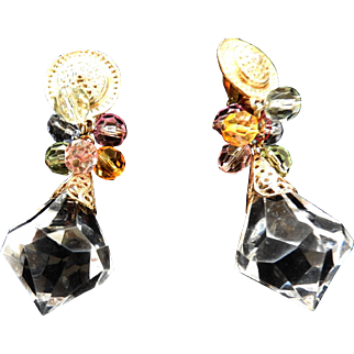 Fabulous Prism Cut Lucite  Vintage Earrings