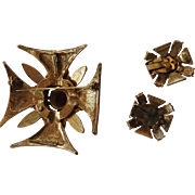 Extraodinary Florenza Maltese Cross Brooch and Earrings