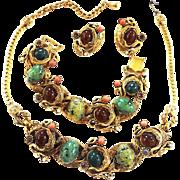 Impossible to find Serpent Dragon Egg Cabochon High End Designer Necklace Bracelet Earrings