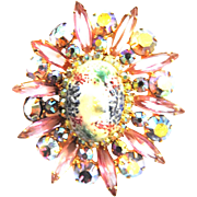 Juliana Art Glass Easter Egg Vintage Brooch