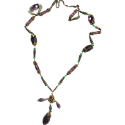 Early 1900s   Very Long Drippy Amethyst Czech Crystal Necklace