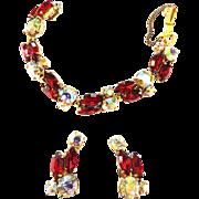 Heart Throbbing Schiaparelli 1940s Ruby Red Bracelet and Earrings