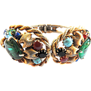 Big Chunky Designer Jeweled with Cabochons Assorted Stones Vintage Clamper Bracelet