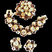 Juliana Headlight Topaz Bracelet Earrings Brooch