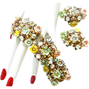 Magnificent English Flower Garden Vintage Bracelet and Earrings