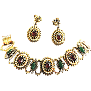 Unsigned Beauty Exquisite Jeweled Faux Pearl Bracelet and Earrings